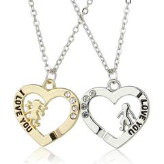 FH 1 Pair Lovers Alloy Necklace I Love You Letter Portrait Pendant Couples Suit Creative Accessories Gold + silver 45cm