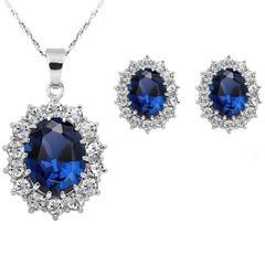 FH Brand1 Set of 3 Necklace Princess Kate & Diana Royal Blue White Gold plate Pendant High Quality blue 50cm