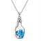FH Hot Sell Lady Fashion Silver Necklace Heart Wishing Bottle Pendant Collarbone Chain Accessories blue 80cm