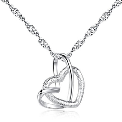 FH Copper Necklace Grind Arenaceous Heart Pendant For Elegant Lady Mother Love Valentine's Day Gift silver 50cm