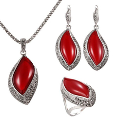 FH European&American Fashion 1 Set Of 4 Resin Necklace Ellipse Earrings Rings Generous Temperament red 45cm