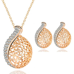 FH 3 Piece/Set European&American Style Alloy Necklace Hollow Out Pendant Earring Fashion Accessories gold 50cm