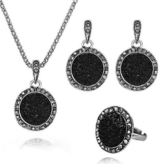 FH Brand 4 Piece/Set Alloy Necklace Circular Gravel Resin Pendant Earring Fashion Simple Accessories black 52+6CM