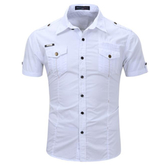 FH Men's Cotton Short-Sleeved Three-Dimensional Two Pockets Fashion Tooling Style Shirt Costume white S Pure cotton