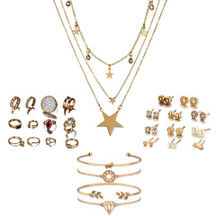 FH Women Jewelry Alloy Inserts Diamond A Set 12 Pair Earrings 12 Pair Ring 4 Bracelets Necklace Suit A Set As Picture Show