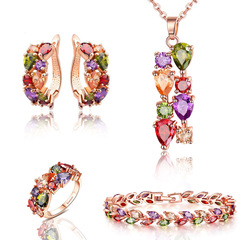 FH Women Jewelry Set Crystal Bridal Women's Jewelry Sets Necklace Earrings Bracelet&Ring For Lady A Set As Picture Show