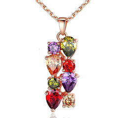 FH Women Jewelry Set Crystal Bridal Women's Jewelry Sets Necklace Earrings Bracelet&Ring For Lady Necklace As Picture Show