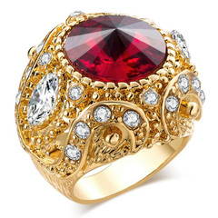 FH Women's&Men's 1 Pcs Metal Resin Ring Crown Fashion Restoring Ancient Ways  Accessories Jewelry Red 10(63mm)