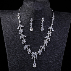 FH 1 Set Of 3 Bride Gem Silver Necklace Pendant & Earrings For Lady Wedding Fashion Dress Accessorie silver 50cm