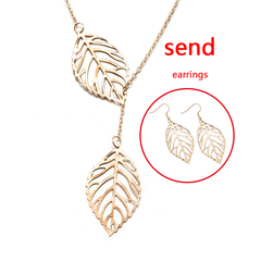 FH 1 Set Of 3 Alloy Necklace Double Leaf Pendant Earrings Creative Collarbone Chain Accessories gold 50cm