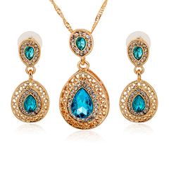FH 1 Set Of 3 Gem Alloy Necklace Water Drop Pendant Long Earrings Suit Creative Fashion Accessories blue 50cm