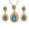 FH 1 Set Of 3 Gem Alloy Necklace Water Drop Pendant Long Earrings Suit Creative Fashion Accessories blue 50cm