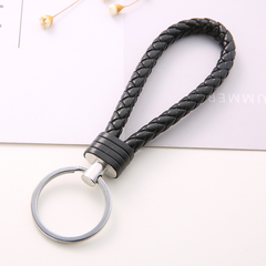 US Braided leather cord keychain car key ring ladies key chain bag pendant as the pic 12cm
