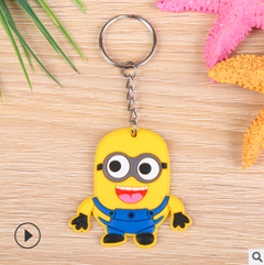 01-hot cartoon soft rubber keychain Creative PVC car key ring one size