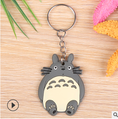 Totoro--hot cartoon soft rubber keychain Creative small gift PVC car key ring one size