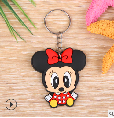 03-Minnie/squirrel hot cartoon soft rubber keychain Creative small gift PVC car key ring Minnie one size