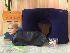Pvc flocking U-shaped pillow Travel three-piece suit Neck pillow set as the pic Single pillow(Small)