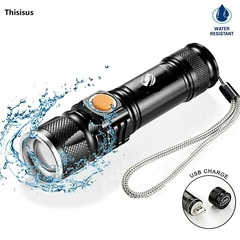 USB Inside Battery T6 Powerful 2000LM Led Flashlight Portable Light LED Torches Zoom Flashlight T6 13cm 10W