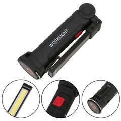 Foldable COB LED Flashlight Torch Flexible Hand Torch Work Light Magnetic Inspection Lamp USB balck 15cm 10W