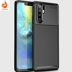 For Huawei Y72019 Case Luxury Soft Armor TPU Silicone Cover Carbon Fiber black huaiwei Y7 2019