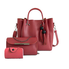 Women's Handbag Luxury 3 Pcs/Set Handbag+Shoulder Bag+Wallet 5 Colors Noble Elegant Exquisite red one size