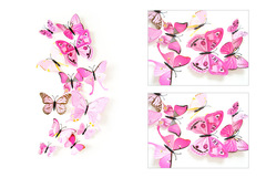 12 Pieces Simulation Butterfly Color 3D Wall Sticker Living Room Bedroom Decorating Fridge Applique purple one size