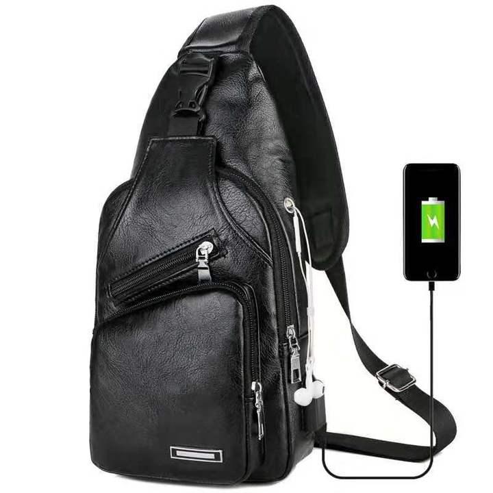 Messenger Leather Shoulder Bags Chest Bag USB With Headphone Hole Designer Package Back Pack Black one size