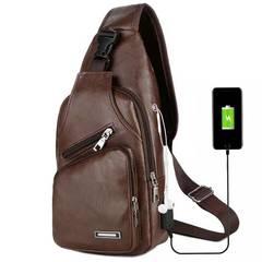 Messenger Leather Shoulder Bags Chest Bag USB With Headphone Hole Designer Package Back Pack Dark Brown one size