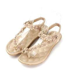 Fashion Summer Womens Bohemia Floral Sandals Flat Shoes Strappy Beach Flip Flops Beige 36