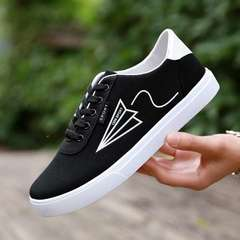 Korean Style Men Versatile Canvas Casual Shoes Breathable Students Sneakers Black 39