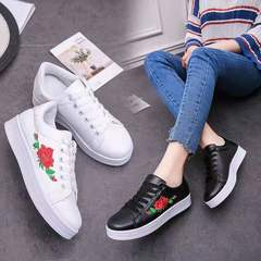 Women's Rose Embroidery Printed Shoe Sneaker(Choose One Bigger Size ) White 36