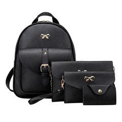 4pcs/set PU Leather Bowknot Backpack Women Shoulder Bag Backpack Clutch Bag Female Back Pack Leather Black 4pcs/set