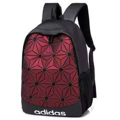 ADIDAS backpack fashion simple rhombic bag large capacity backpack leisure bag wine red as picture