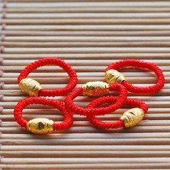 Women Beautiful fashion generous imitation gold red rope ring small gift red rope ring gold as picture