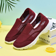 Soft bottom breathable sneakers casual shoes non-slip shoes comfortable Dark red 36