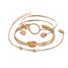 OLS Multiple Pcs Adjustable Open Bracelet Set Women Fashion Accessories Jewellery For Gift Gold As picture