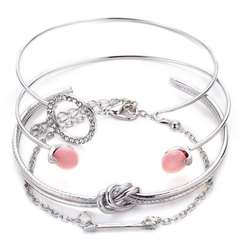 OLS Multiple Pcs Adjustable Open Bracelet Set Women Fashion Accessories Jewellery For Gift Silver As picture
