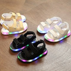 Girls Shoes Children Baby Boys Girls LED Sandals Casual PU Shoes (1-6 years old) White 21