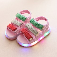 Children Baby Shoes Net Breathable Toddler LED Shoes Sandal 1-6 years old Pink 21
