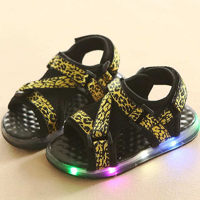 Toddler Kids Casual Summer Boys Girls Baby Sandals LED Luminous Shoes Sneakers yellow 21