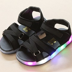 Kids Girls Soft Sole Summer LED Luminous Sandals Anti Slip Casual Beach Sneaker black 21