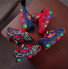 Led luminous Spiderman Kids Shoes for boys girls Light Children Luminous baby Sneakers mesh sport red 21