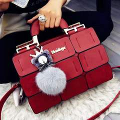 New fashion Korean stitching with a hair ball handbag ladies shoulder Messenger bag red as picture