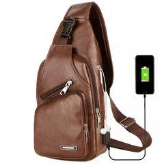 Messenger Leather Shoulder Bags Chest Bag USB With Headphone Hole Designer Package Back Pack Light Brown ons size