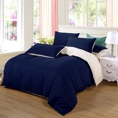 New style 100% Polyester 4PCS Bedding sets with Duvet cover flat sheet and two pillow cases Dark blue 5*6