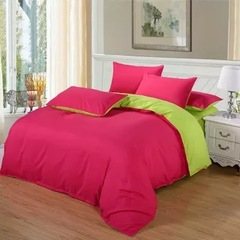 New style 100% Polyester 4PCS Bedding sets with Duvet cover flat sheet and two pillow cases red and green 6*6