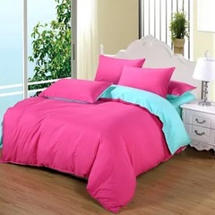 New style 100% Polyester 4PCS Bedding sets with Duvet cover flat sheet and two pillow cases Pink and blue 5*6