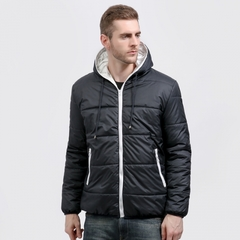 Brand Coat Men waterproof Casual Hoodied Patchwork Cotton Padding Men Clothing Jacket Men black white size S 50 to 58kg