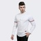 2018 Fashion Small Label Sleeve Color Ribbon Design Men's Casual Long Sleeve Shirt white size l 58 to 65kg