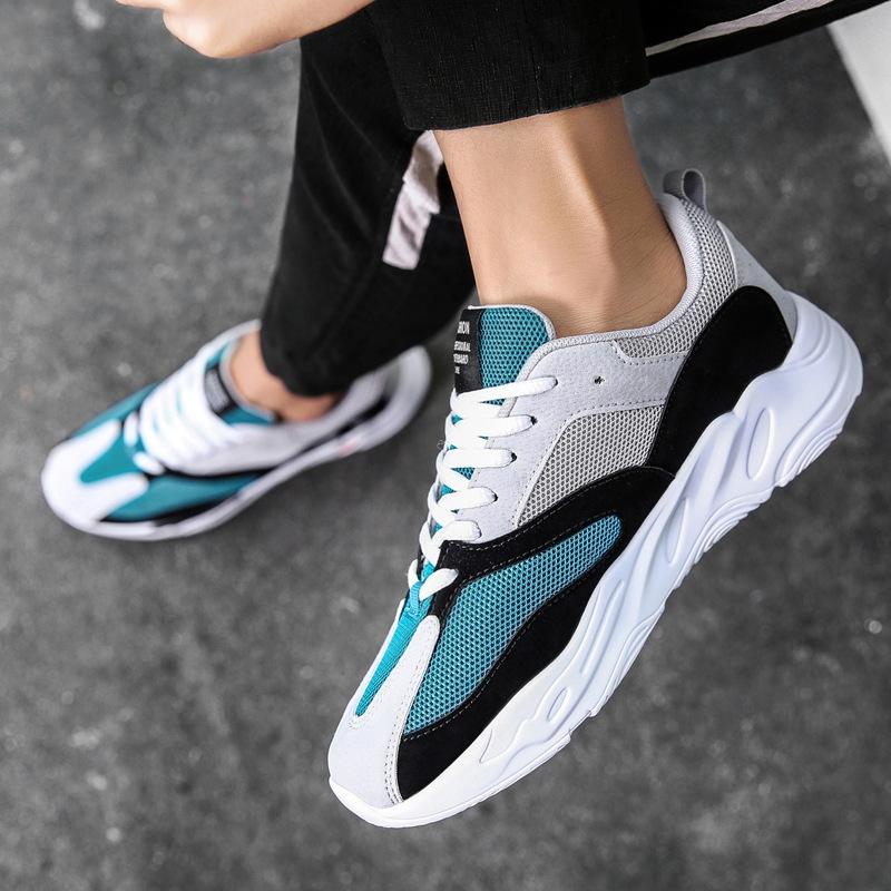 low priced 6f70b 1cc57 Vintage dad Men shoes 2018 kanye fashion west mesh light breathable men  casual shoes men sneakers Blue 8